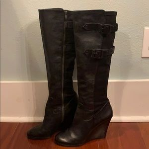 Vince Camuto wedge buckle boots